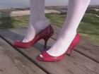 Red peep toe high heels & RHT stockings